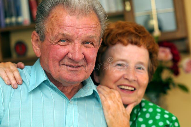 Elderly happy couple stock photo