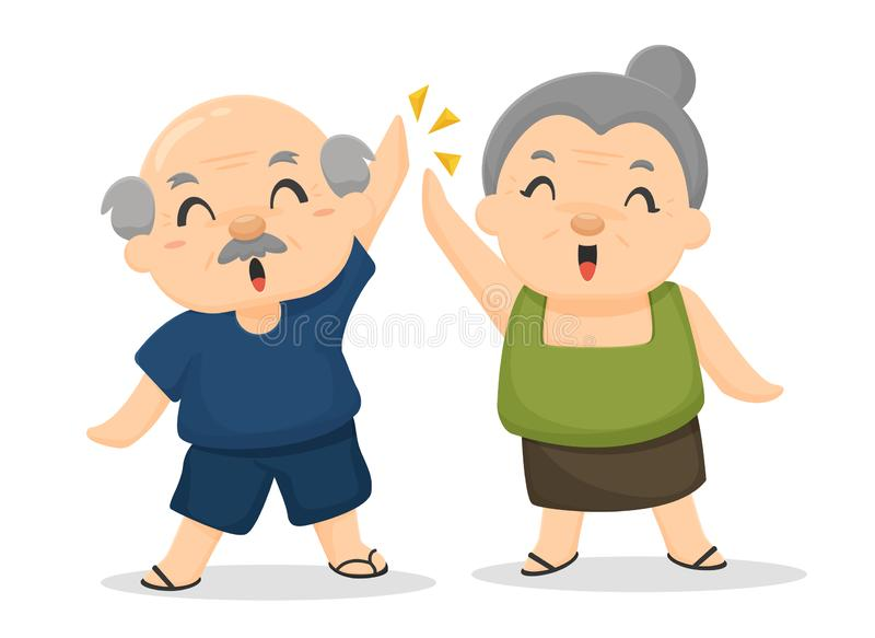 The elderly are happy after receiving welfare benefits. Post-retirement care vector illustration