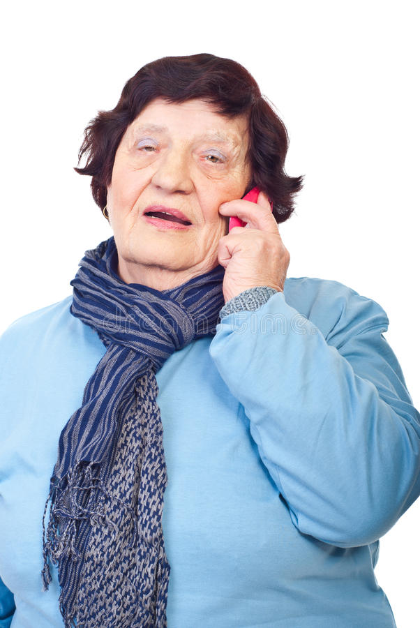 Elderly having conversation by cellphone royalty free stock image