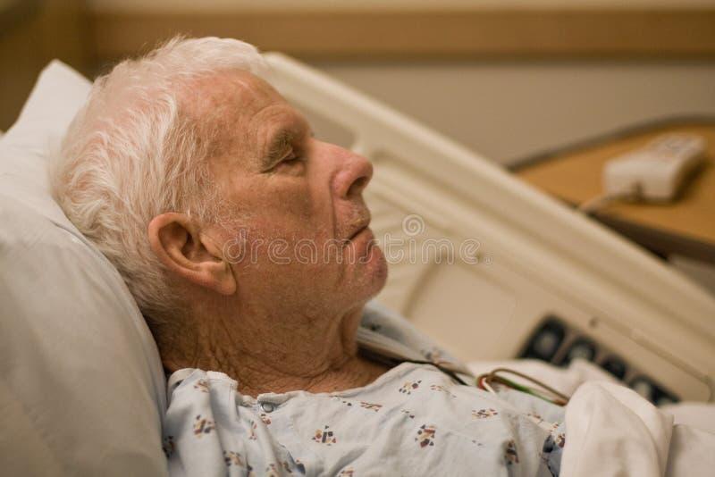 Elderly hospital patient sleeping stock images