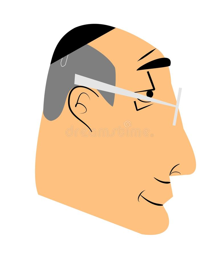 Elderly jewish man. Peering over his glasses stock illustration