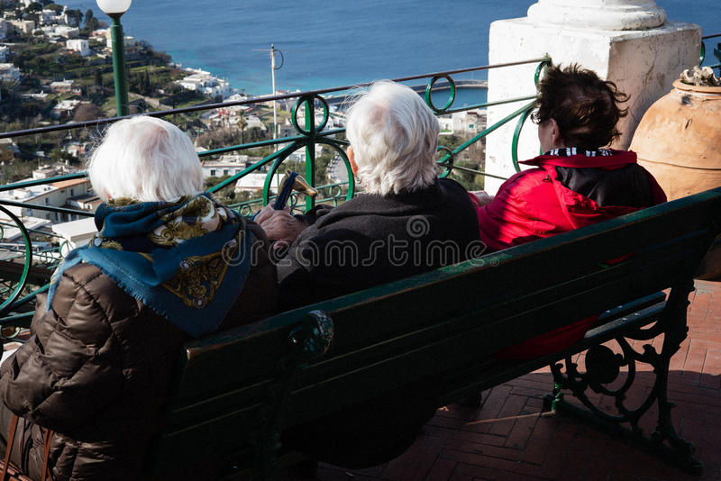 Elderly ladies, Capri, Italy. stock photos