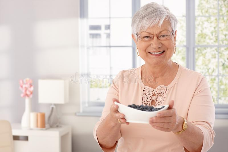 Elderly lady with bowl of blueberry. Elderly lady offering a bowl of blueberry, smiling, looking at camera royalty free stock photos