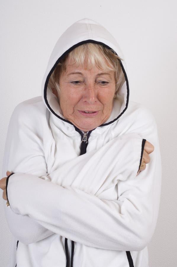 Elderly lady freeze royalty free stock image