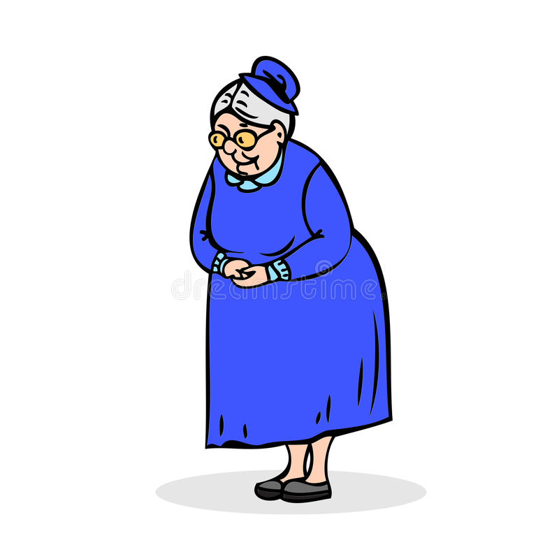 Elderly lady with glasses. Grandmother standing with folded hand royalty free stock photos