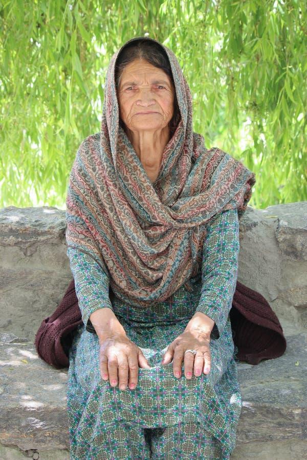 Elderly lady in Pakistan royalty free stock photos