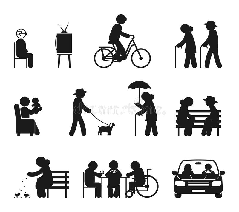 Elderly leisure activities stock vector illustration of for Activities for couples in nyc