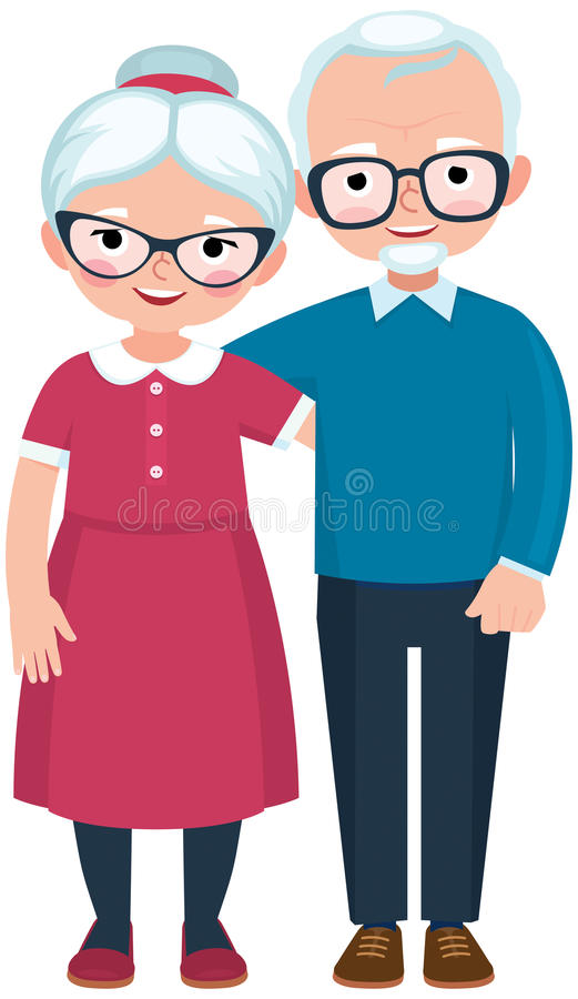 Elderly loving couple husband and wife at full length. Are embracing on white background cartoon vector illustration royalty free illustration