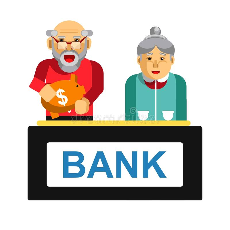 Elderly making deposit in bank. Grandparents with bag of money. Elderly people making deposit in bank. Grandparents with bag of money in financial establishment royalty free illustration