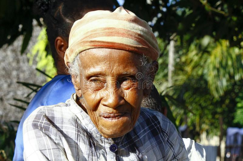 Elderly Malagasy woman portrait. Madagascar royalty free stock images
