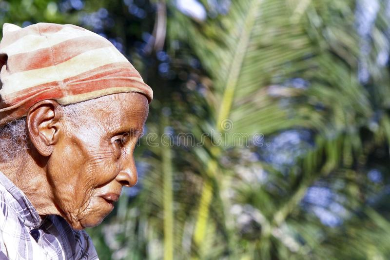 Elderly Malagasy woman portrait. Madagascar royalty free stock photography