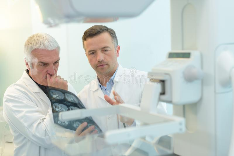 Elderly male doctor discussing x-ray scans royalty free stock photos