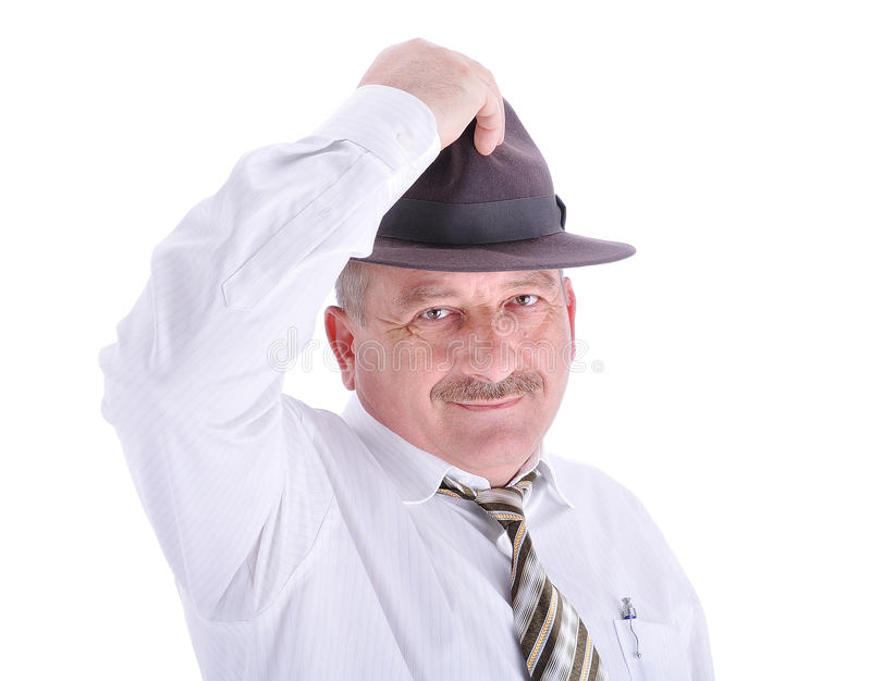 Elderly male person with a hat stock photos