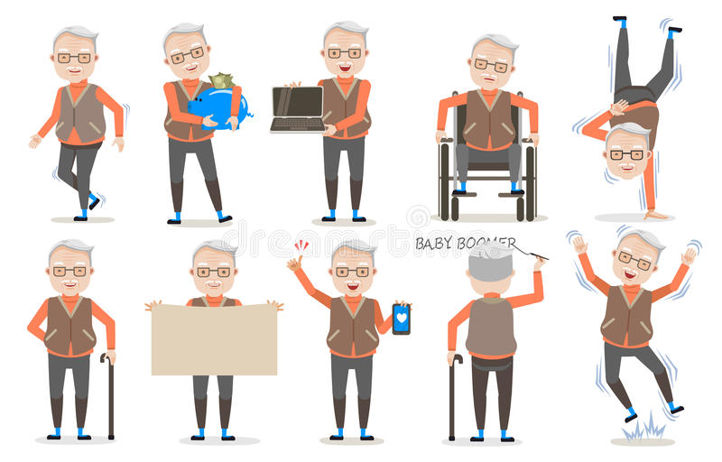 Senior Poses stock illustration