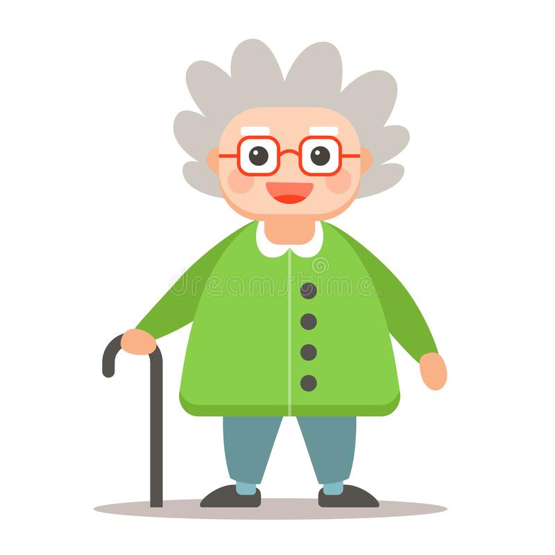 Elderly man with a cane standing in full growth on a white background. royalty free illustration