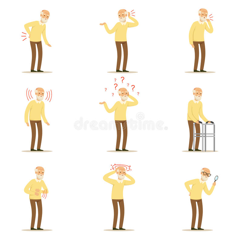Elderly man diseases, pain problem in back, neck, arm, heart, knee and head. Senior health set of colorful cartoon royalty free illustration