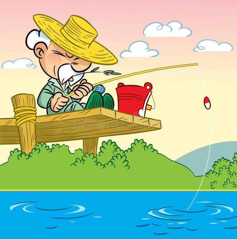 Elderly man fishing vector illustration