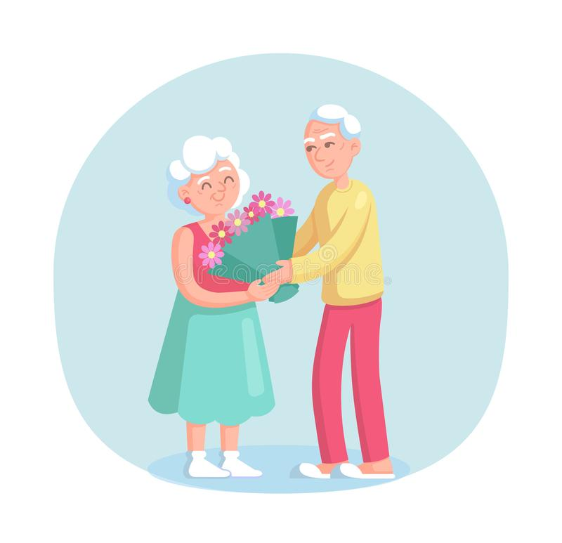 Elderly man gives a large bouquet of flowers to his wife. Grey haired couple old senior man and woman together cartoon vector isolated on light background royalty free illustration