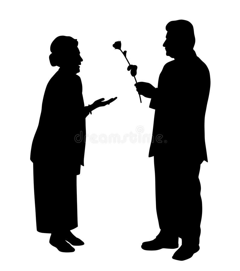 Elderly man gives a rose to elderly woman. Illustration silhouette of an elderly man gives a rose to an elderly woman. Isolated white background. EPS file vector illustration