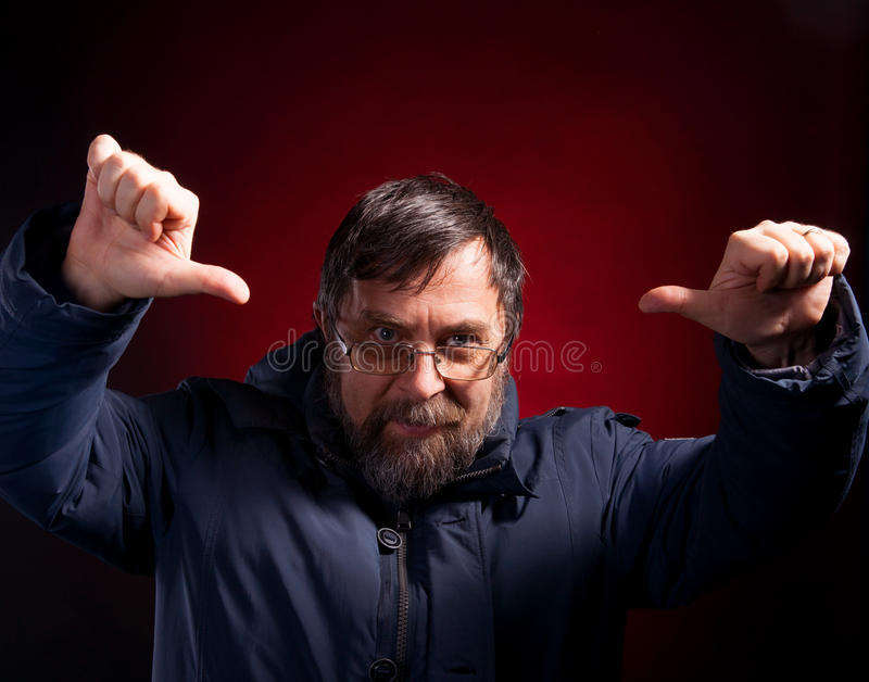 Download Elderly Man Gives Thumbs Down Stock Image - Image of grumpy, person: 29440175