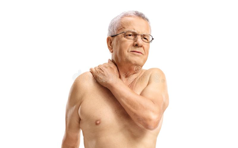 Elderly man holding his painful neck. Isolated on white background royalty free stock photos