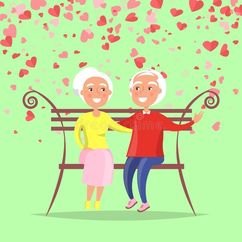 Elderly Man Hugging Woman Sitting on Bench Vector. Elderly man hugging woman sitting on bench. Smiling grandfather embracing grandmother, romantic day. Valentine vector illustration