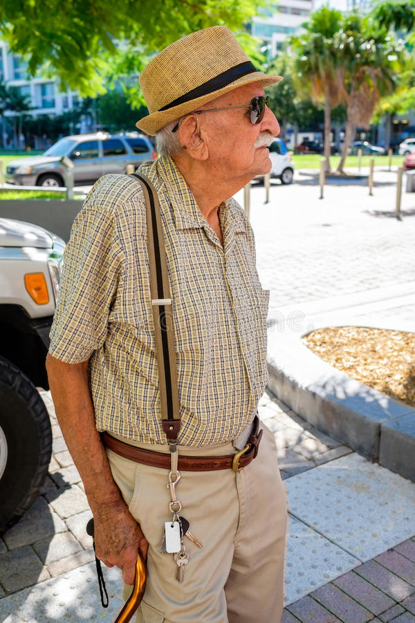 Elderly man. Elderly 80 plus year old man in a outdoor setting royalty free stock photos