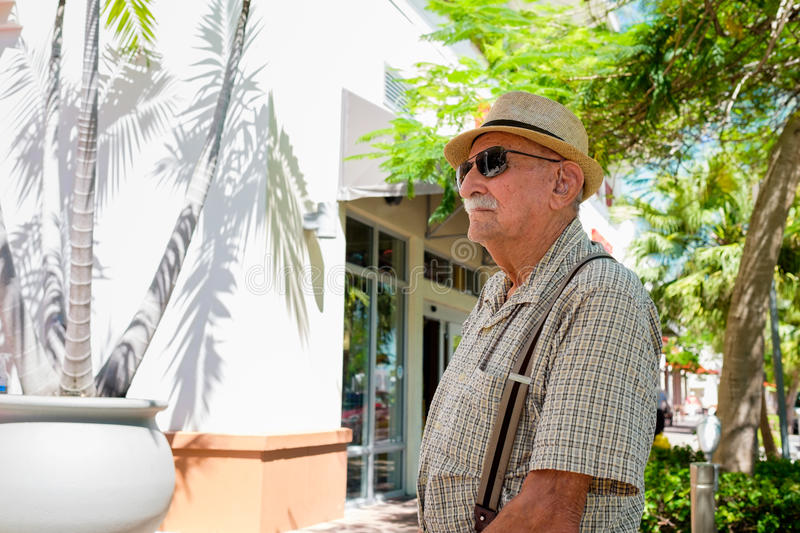 Elderly man. Elderly 80 plus year old man in a outdoor setting stock images
