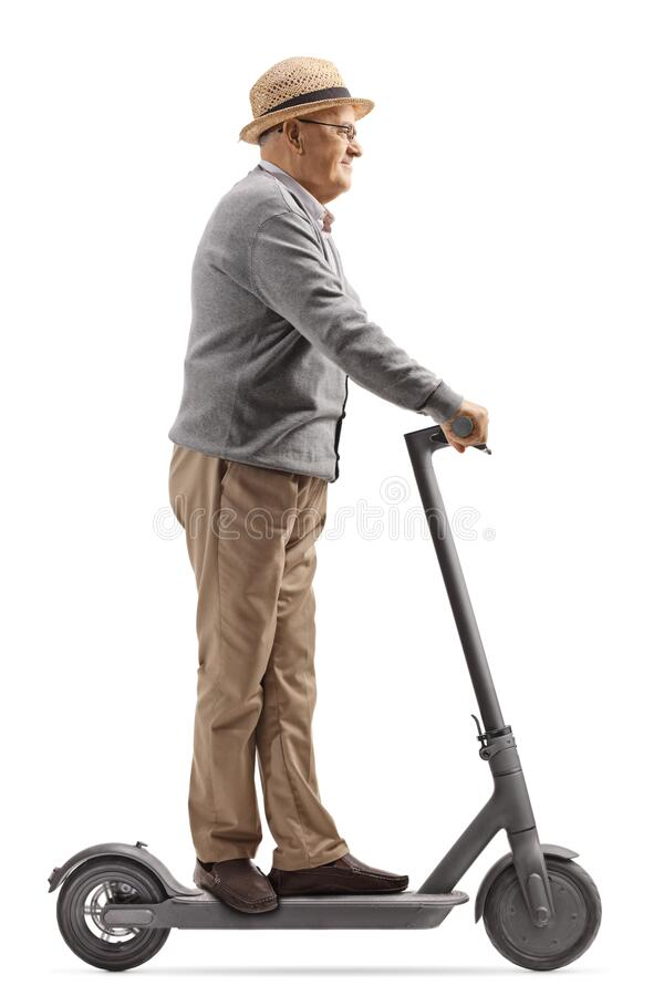 Free Elderly Man Riding An Electric Scooter Stock Images - 187571264