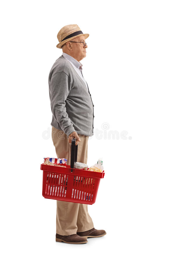 Download Elderly Man With A Shopping Basket Waiting In Line Stock Image - Image of expression, cereal: 92589463