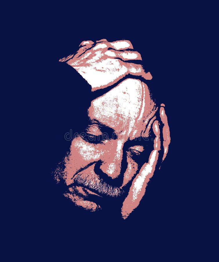 Elderly man. Contemporary art and poster style image. Elderly man suffering from a headache. Contemporary art and poster style image royalty free stock photos
