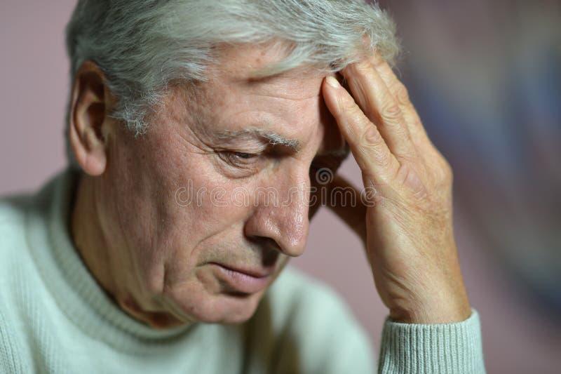 Elderly man thinking royalty free stock images