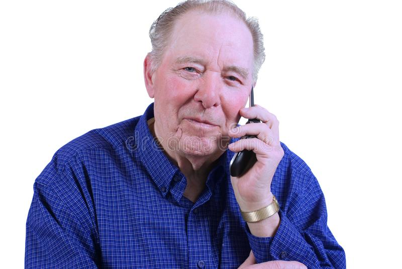 Elderly man using cell phone stock photos