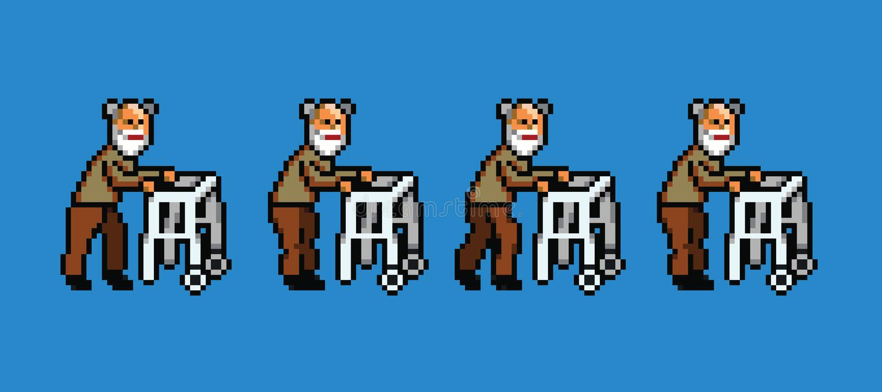 Elderly man with walker pixel art style walking cycle animation stock illustration