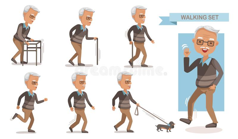 Elderly man walking. Set.exhausted old man walking with a cane. Full length of a casual senior man walking and smiling. portrait of a mature man with a walker royalty free illustration