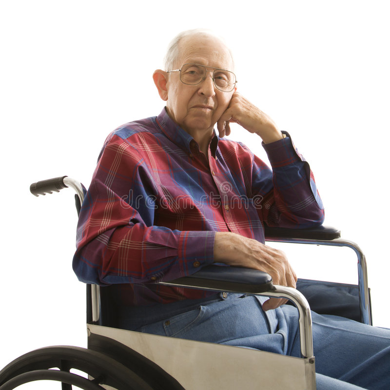 Elderly man in wheelchair. stock images