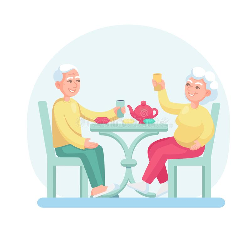 Elderly man and woman drink tea while sitting at the table. Grey haired couple old senior man and woman together cartoon vector isolated on light background stock illustration