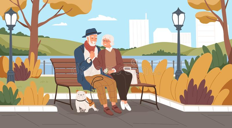 Elderly man and woman have a date in the park. Romantic couple sitting on a bench and smiling. Two senior lovers spend. Time together. Happy grandparents walk royalty free illustration