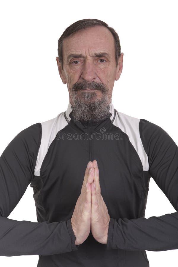 Download Elderly Man In Yoga Position Stock Image - Image: 23497189