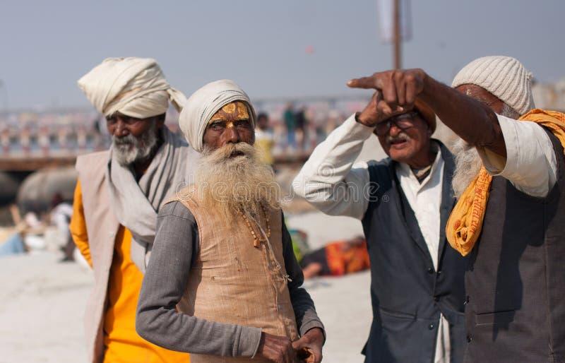 Elderly men have emotional conversation royalty free stock photos