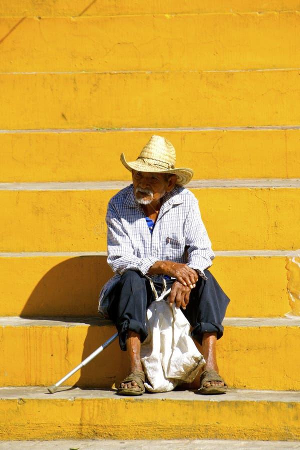Elderly mexican farmer stock photo