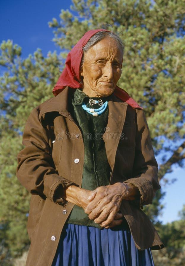 Elderly Native American Woman. Navajo woman near Canyon de Chelly, Chinle, Arizona stock images