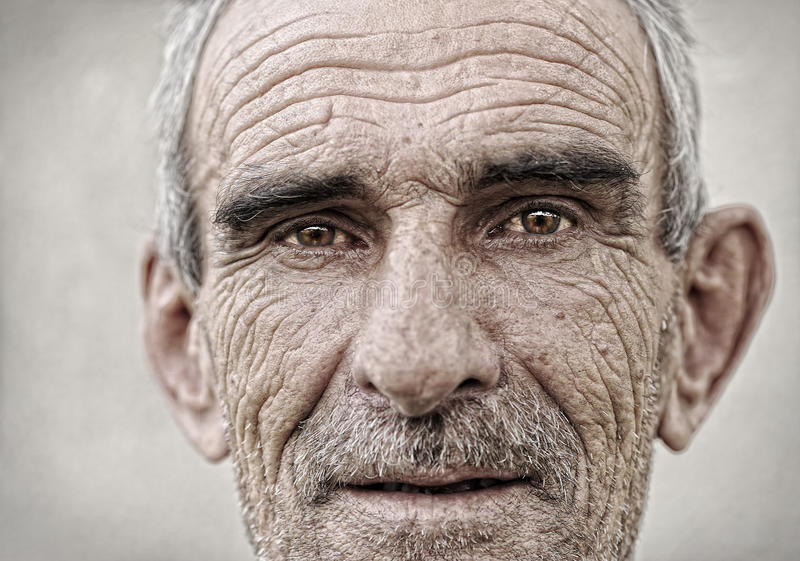 Elderly, old, mature man portrait stock photography