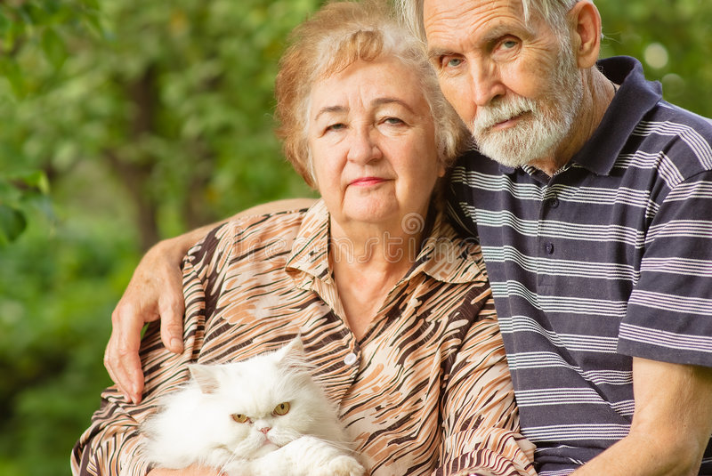 Elderly pair with Persian cat royalty free stock photos