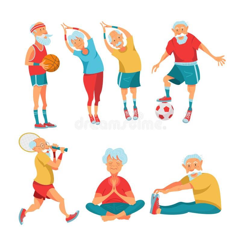 Elderly pensioners engaged in sports. Vector illustration. vector illustration