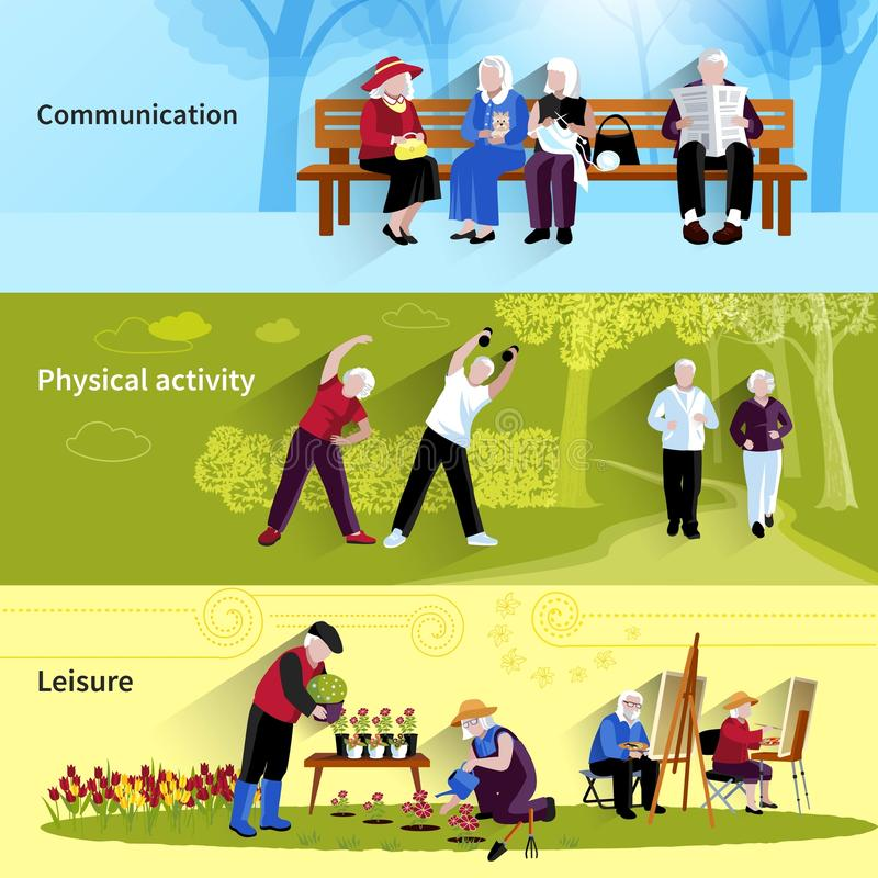 Elderly People Banners Set vector illustration