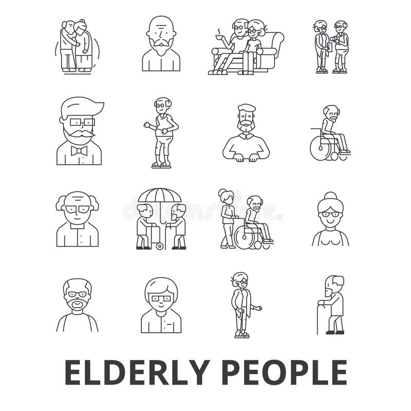 Elderly people, care, elderly couple, old people, elderly patient, support line icons. Editable strokes. Flat design. Vector illustration symbol concept. Linear vector illustration