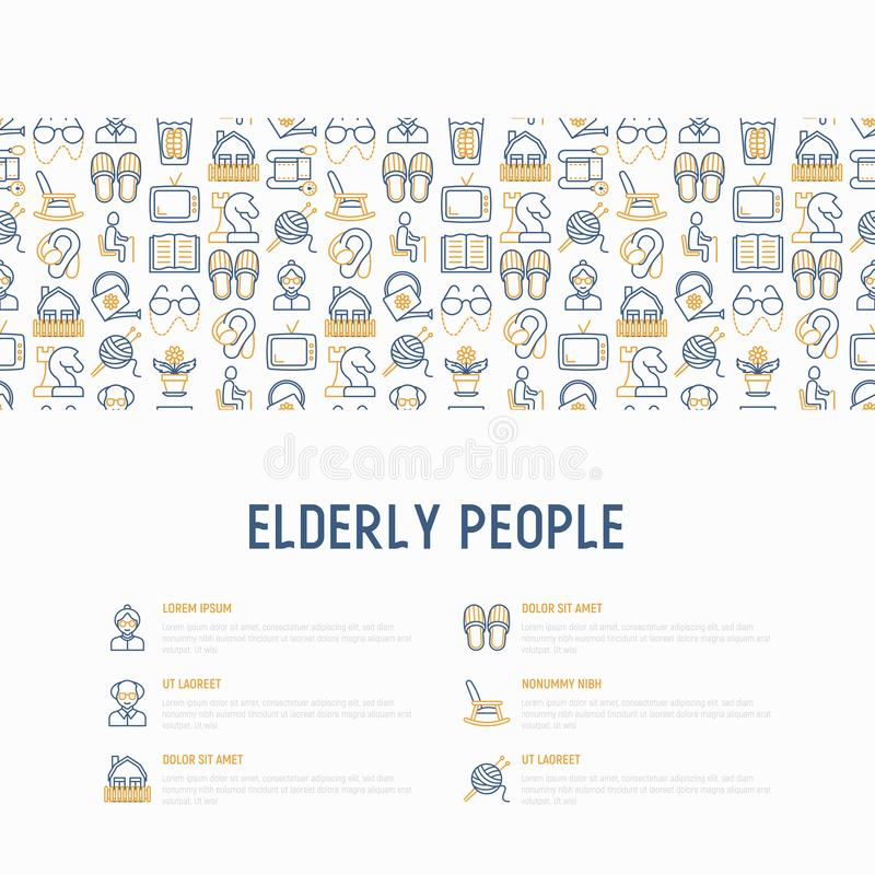 Elderly people concept with thin line icons: grandmother, grandfather, glasses, slippers, knitting, rocking chair, hearing aid, f vector illustration