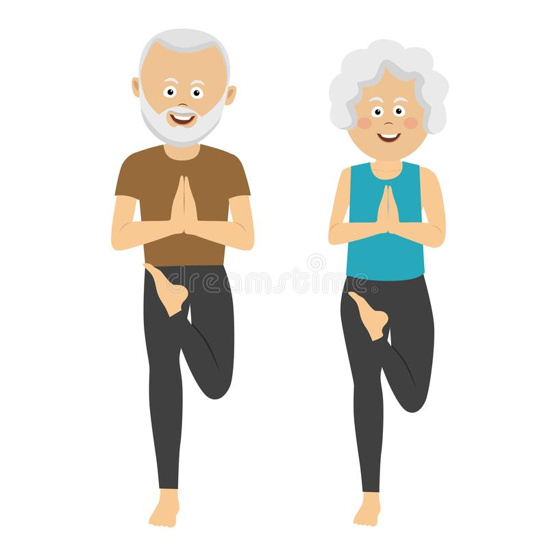 Elderly people doing exercises. Healthy active lifestyle retiree. Sport for grandparents, elder fitness, yoga. On white vector illustration
