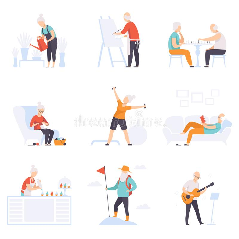 Elderly people enjoying various hobbies, senior men and women leading an active lifestyle social concept vector. Illustration isolated on a white background stock illustration